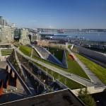 Olympic Sculpture Park, aerial view with Richard Serras Wake (2004),  Richard Serra / Photo:  Benjamin Benschneider Photography