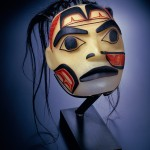 "Preston Singletary, ""Warrior Mask,"" mold-blown and sandcarved glass with horsehair, 2001, 14 x 10 x 7 in.  Collection of Larry Gabriel. Image courtesy of the Anchorage Museum."