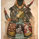 "Lindsey Carr. ""Gifts From The Red Barbarians."" Acrylic ink and gold leaf on watercolor paper. Courtesy of Roq La Rue and the artist."