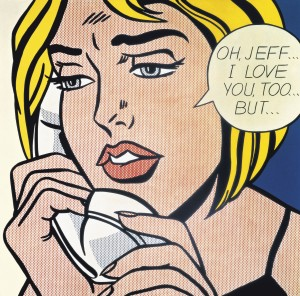 Roy Lichtenstein, American (1923-1997). Oh, Jeff...I Love You, Too...But…, 1964. Oil and Magna on canvas. 121.9 x 121.9 cm (48 x 48 in). © Estate of Roy Lichtenstein. Collection Simonyi.